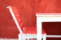 Red chair and table Stock Photo