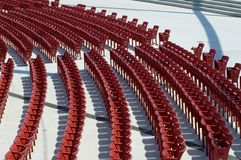 Red chairs. Red concert chairs in the Jay Pritzker Pavilion, designed by Frank Gehry. Millennium Park, Chicago Stock Photos