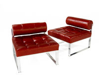 Red chairs. Red Leather Modern Chairs isolated on white Royalty Free Stock Photo