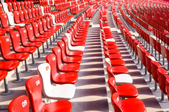 Red chairs bleachers in large stadium Royalty Free Stock Images