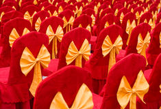 Red chairs with bowknot Royalty Free Stock Photo