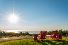Red chairs from Butland lookoff  with a beautiful view of Fundy Royalty Free Stock Image