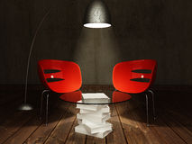 Red chairs with coffee table Stock Images