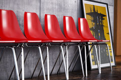 Red chairs 3d composition. Red seats in a concrete modern environment. created with 3ds max royalty free illustration