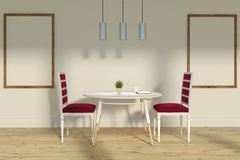 Red chairs dining room, two posters Stock Images
