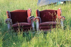 Red chairs in grass. Two old red armchair in garden Stock Photography