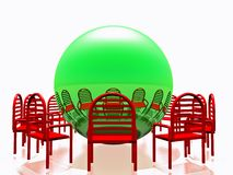 Red chairs and green sphere Royalty Free Stock Photography