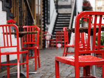 Red chairs. On a little terrace in Glasgow Royalty Free Stock Photography
