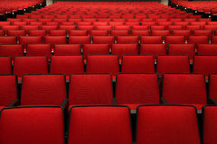 Red Chairs in movie theater Stock Photos