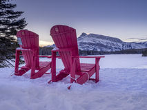 Red Chairs at Two-jack Lake Royalty Free Stock Photo