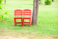 Red chairs wood Royalty Free Stock Photo