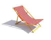 Red chaise longue. Red striped chaise longue on white background Stock Photos