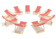 Red chaises longue in circle. On white background Royalty Free Stock Photos
