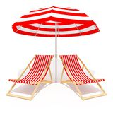 Red chaises longue and umbrella Stock Photo