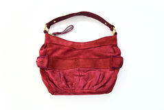 Red chamois handbag Stock Photos