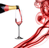 Red champagne and abstract smoke. Stock Image