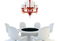 Red chandelier. Armchair,table and red chandelier on the white background Royalty Free Stock Photos