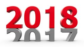 2017-2018 red. 2017-2018 change represents the new year 2018, three-dimensional rendering, 3D illustration Royalty Free Illustration