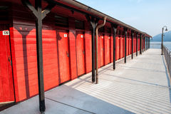 Red changing rooms Stock Photos