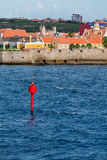 Red Channel Marker on Curacao Coast Royalty Free Stock Image