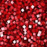 Red Chaotic Cubes Particles Background. 3d Render Illustration Stock Image