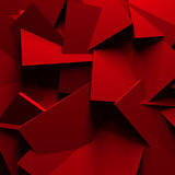 Red Chaotic Cubes Wall Background. 3d Render Illustration Stock Photography