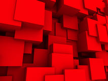 Red Chaotic Cubes Wall Background. 3d Render Illustration Royalty Free Stock Photo