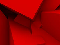 Red Chaotic Cubes Wall Background. 3d Render Illustration Stock Photos