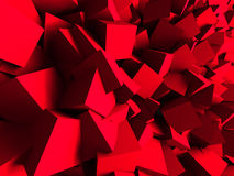 Red Chaotic Cubes Wall Background. 3d Render Illustration Stock Image