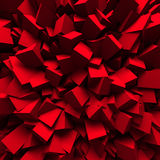 Red Chaotic Cubes Wall Background. 3d Render Illustration Stock Photo