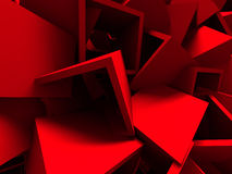 Red Chaotic Cubes Wall Background Stock Image
