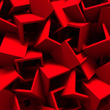 Red Chaotic Cubes Wall Background. 3d Render Illustration Royalty Free Stock Images