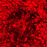 Red chaotic fragments of wall. Destruction broken hole. Abstract Royalty Free Stock Photography