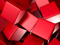 Red Chaotic Glossy Cubes Background. 3d Render Illustration Stock Photography