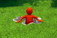 Red character appearing in a jigsaw. With missing piece Royalty Free Stock Photo