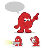 Red Character Set. Collection of red finder cartoons with smiles Stock Photography