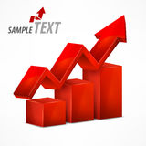 Red chart with arrow on white Royalty Free Stock Images