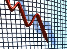 Red Chart Falling Stock Photography