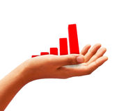Red chart in hand Royalty Free Stock Photography