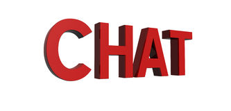 Red-chat. 3D render of reflective red text on a white background, chat Royalty Free Stock Photos