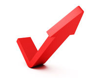 Red check mark arrow on white background Stock Image