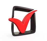 Red check mark with black frame Stock Photography