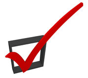 Red Check Mark Box Approved Good Accepted Rating Feedback Survey. Red 3d check mark in a black box to illustrate approval or acceptance, a good feedback rating Royalty Free Stock Images