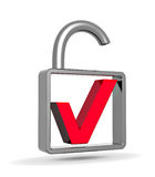 Red check mark into a open padlock. Security concept Stock Photography