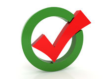 The red check mark. On a white background Royalty Free Stock Photography