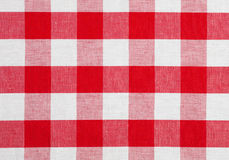 Red checked fabric tablecloth. Red checked gingham fabric tablecloth Royalty Free Stock Photos