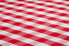 Red checked fabric tablecloth Royalty Free Stock Image