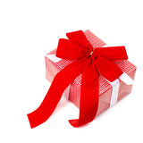 Red gift box with ribbon Royalty Free Stock Photography