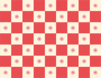 Red Checker+flowers. Red Checkered quilt background stock illustration