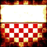 Red Checker Grunge. Red and white retro checker grunge background with banner copy space for your text Stock Image